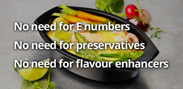 Pre packed ready meals with no need for E numbers, preservatives or flavour enhancers