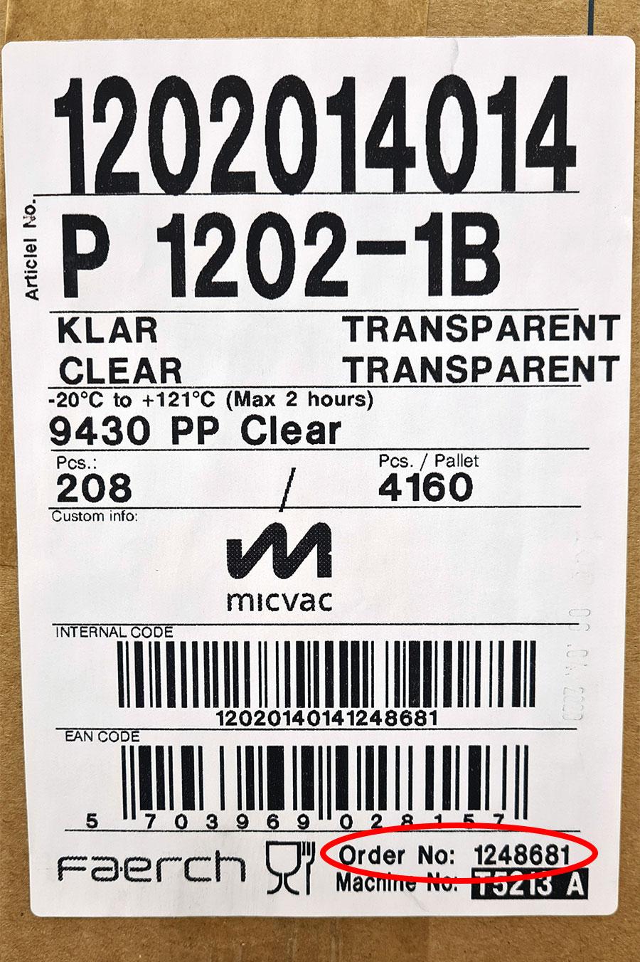 Tray, identification code